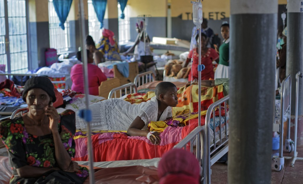 In this Wednesday, May 31, 2017 photo, expectant mothers lie on beds in the maternity ward of the Kalisizo General Hospital in Kalisizo, Uganda. UNICE...