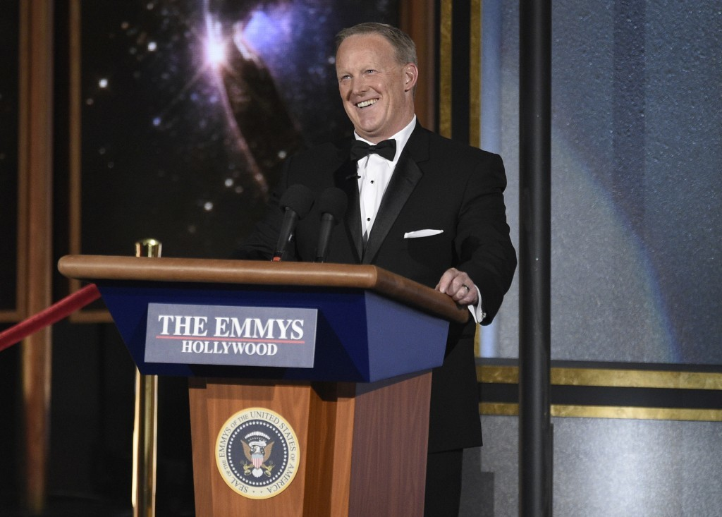 Sean Spicer speaks at the 69th Primetime Emmy Awards on Sunday, Sept. 17, 2017, at the Microsoft Theater in Los Angeles. (Photo by Chris Pizzello/Invi...