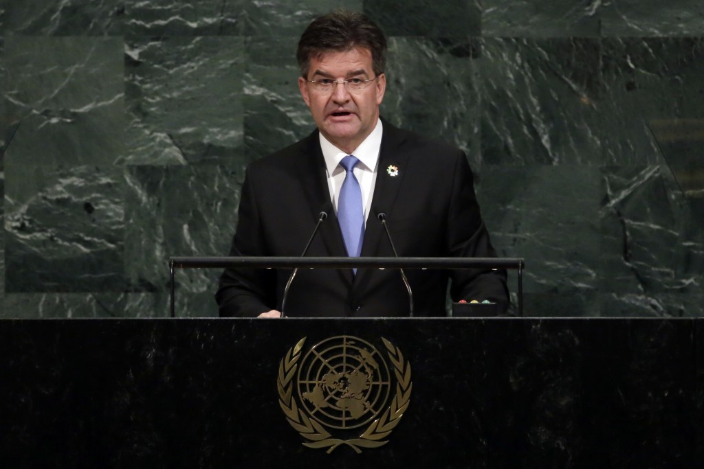 United Nations General Assembly President Miroslav Lajcak, of Slovakia, addresses the 72nd meeting of the United Nations General Assembly, at U.N. hea...