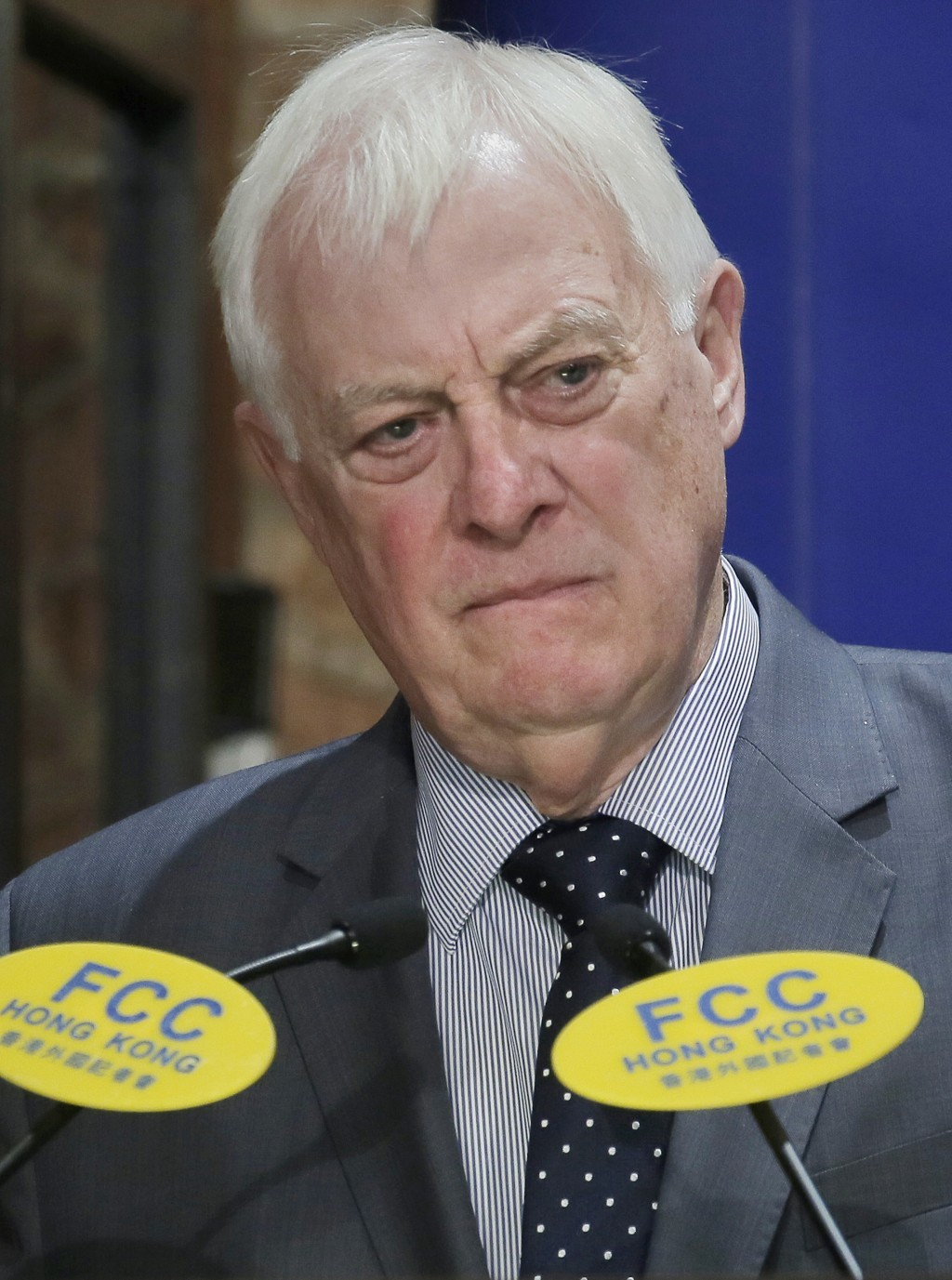 Chris Patten, Hong Kong's last British governor, listens to questions at The Foreign Correspondents' Club to promote his new book in Hong Kong, Tuesda...