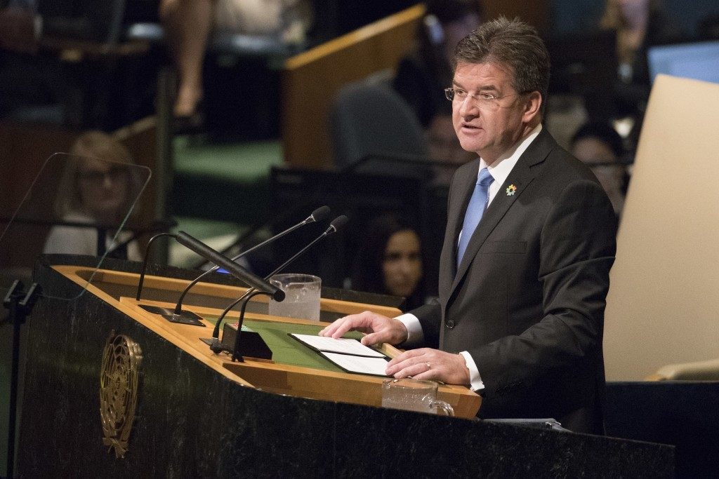 United Nations General Assembly President Miroslav Lajcak speaks during the 72nd session of the United Nations General Assembly at U.N. headquarters, ...
