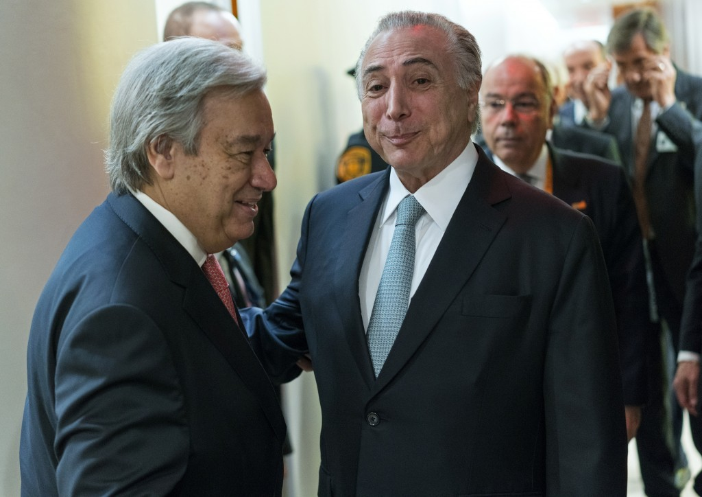 United Nations Secretary-General Antonio Guterres, left, greets Brazilian President Michel Temer before a meeting Tuesday, Sept. 19, 2017, at U.N. hea...
