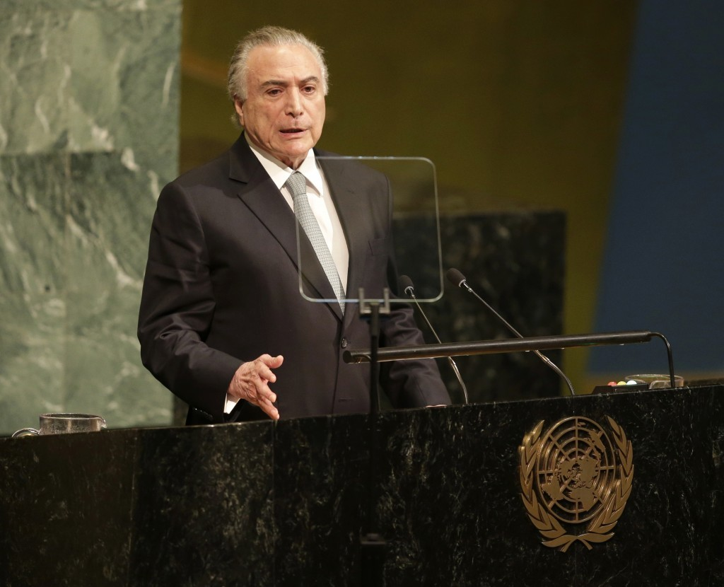 Brazilian President Michel Temer speaks during the United Nations General Assembly at U.N. headquarters, Tuesday, Sept. 19, 2017. (AP Photo/Seth Wenig...