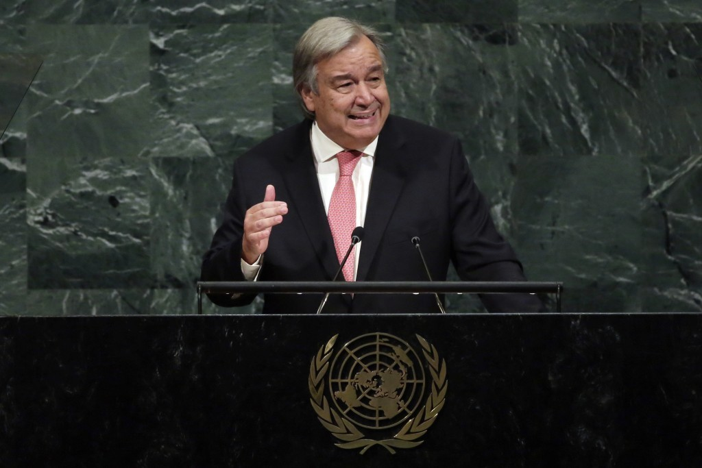 United Nations Secretary General Antonio Guterres addresses the 72nd meeting of the United Nations General Assembly, at U.N. headquarters, Tuesday, Se...