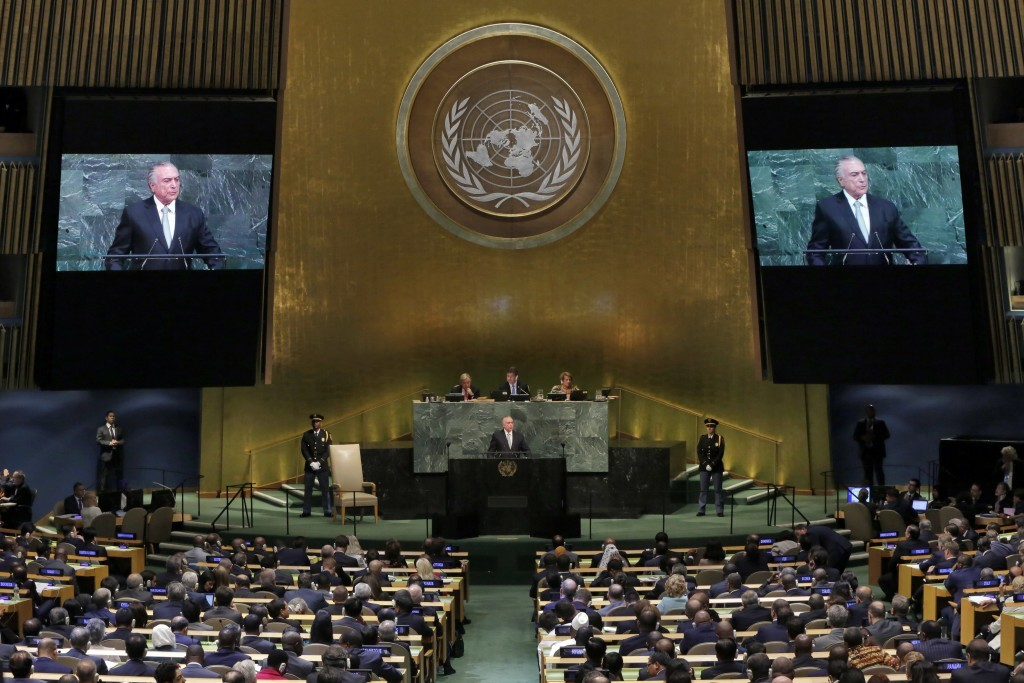 President Michel Temer of Brazil addresses the 72nd session of the United Nations General Assembly, at U.N. headquarters, Tuesday, Sept. 19, 2017. (AP...