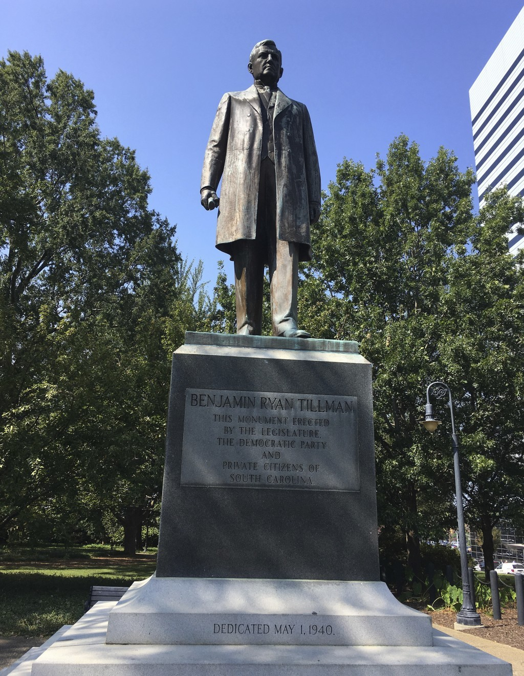 A statue of Benjamin Ryan Tillman is seen on the grounds of the state capitol, Wednesday, Sept. 20, 2017, at in Columbia, S.C. One Statehouse monument...