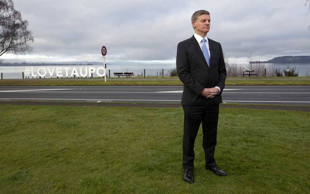 New Zealand Prime Minister Bill English waits to be interviewed on television in Taupo, New Zealand, Friday, Sept. 22, 2017. English is fighting to ke...