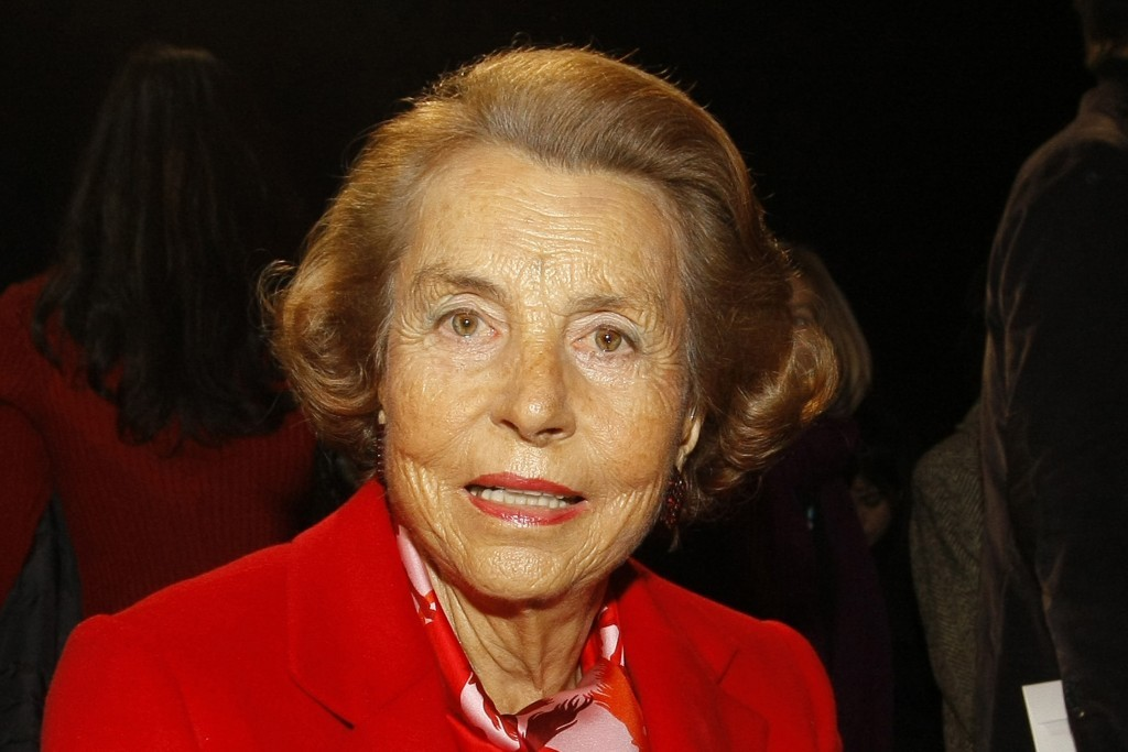 FILE - In this Wednesday Jan. 26, 2011file photo, l'Oreal cosmetics heiress Liliane Bettencourt attends Franck Sorbier's spring/summer 2011 Haute Cout...
