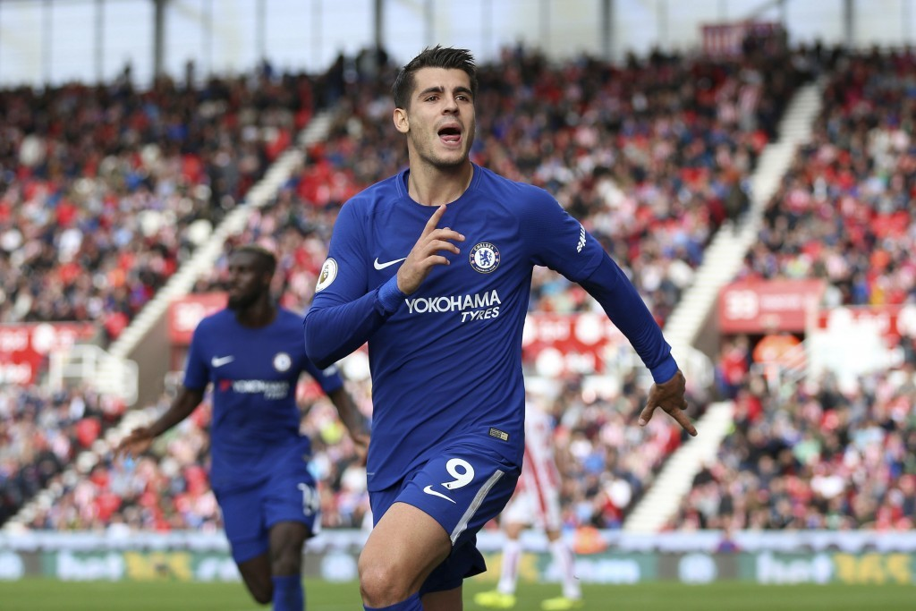 Chelsea's Alvaro Morata scores his side's forth goal of the game during the English Premier League soccer match between Stoke City and Chelsea at the ...