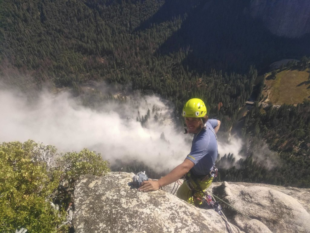 In this photo provided by Peter Zabrok, climber Ryan Sheridan who had just reached the top of El Capitan, a 7,569-foot (2,307 meter) formation, when a...