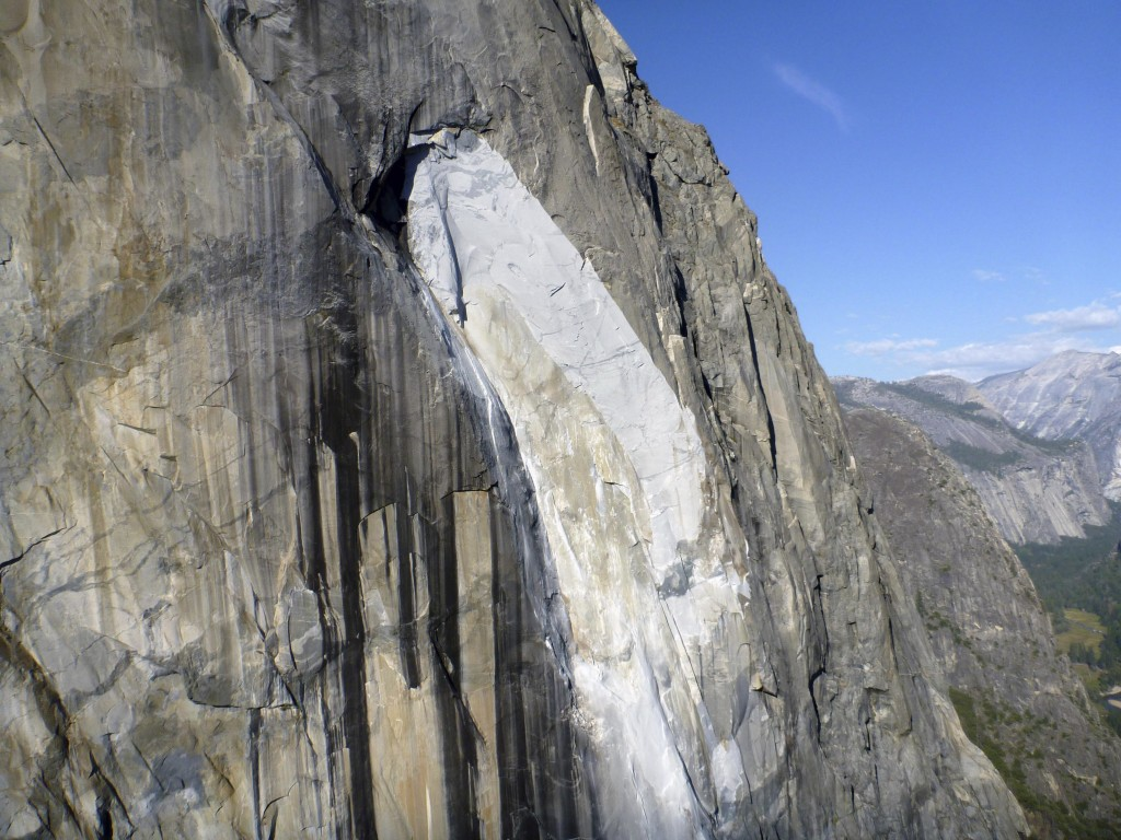 This Thursday, Sept. 28, 2017 photo provided by The National Park Service shows a rock fall off the iconic El Capitan rock formation in Yosemite Natio...