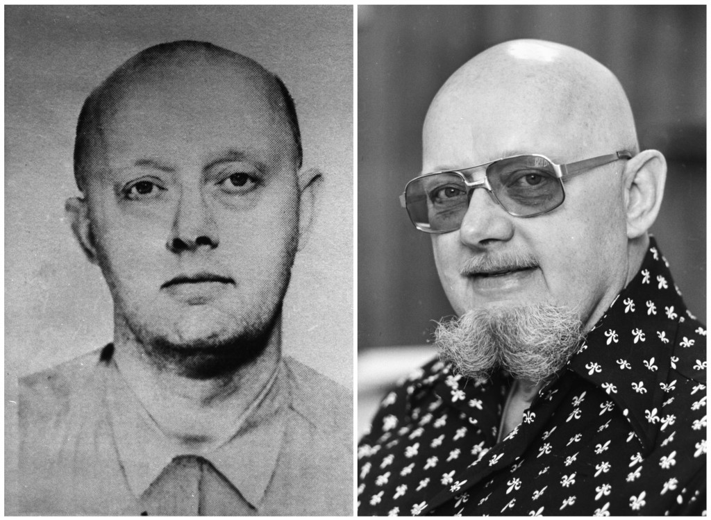 FILE - This photo combination shows an image from a 1960s FBI wanted poster of Benjamin Hoskins Paddock, left, and a 1977 file photo of Paddock, who w...