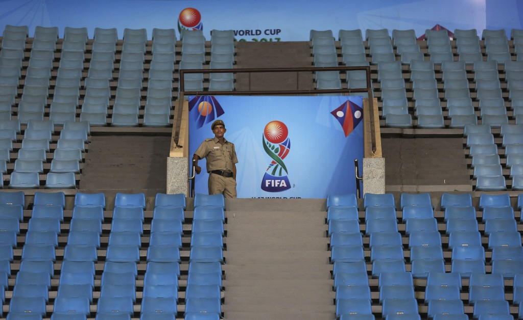 A Delhi policeman stands guard at Jawaharlal Nehru Stadium, one of the venues for the FIFA U-17 World Cup in New Delhi, India, Wednesday, Oct. 4, 2017...