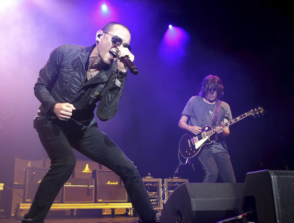 FILE - In this May 16, 2015, file photo, Chester Bennington performs in concert during the MMRBQ Music Festival 2015 at the Susquehanna Bank Center in