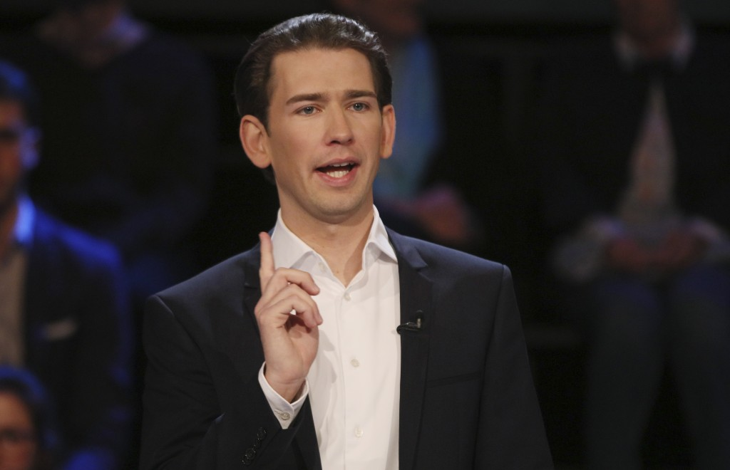 Foreign Minister Sebastian Kurz, head of Austrian People's Party, speaks in a TV debate in Vienna, Austria, Thursday, Oct. 12, 2017. Austria will hold...