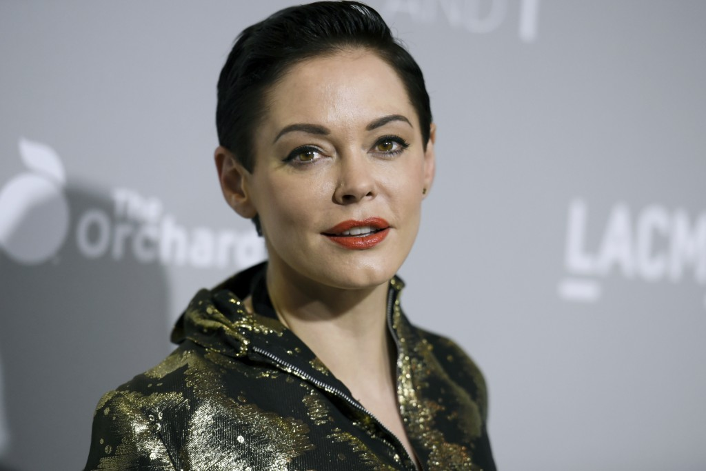 """FILE - In this April 15, 2015 file photo, Rose McGowan arrives at the LA Premiere Of """"DIOR & I"""" held at the Leo S. Bing Theatre in Los Angeles. McGowa"""