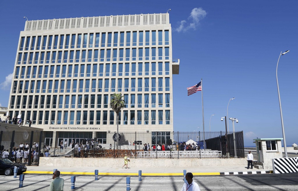 FILE - In this Aug. 14, 2015, file photo, a U.S. flag flies at the U.S. embassy in Havana, Cuba. The Associated Press has obtained a recording of what