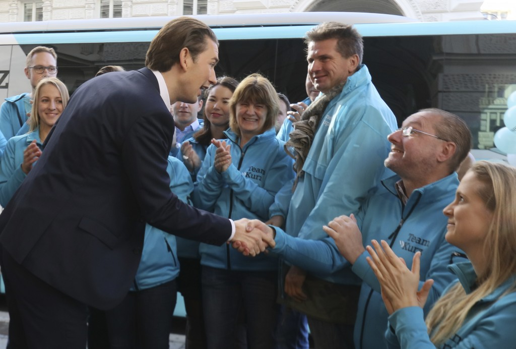 Foreign Minister Sebastian Kurz, head of Austrian People's Party, shakes hand with supporters during a brief campaign rally in Vienna, Austria, Friday...
