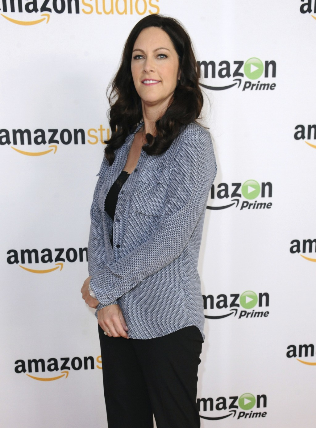 """FILE - In this Aug. 3, 2015 file photo, producer Isa Dick Hackett attends """"The Man in the High Castle"""" photo call at the Amazon Summer TCA Tour at the"""