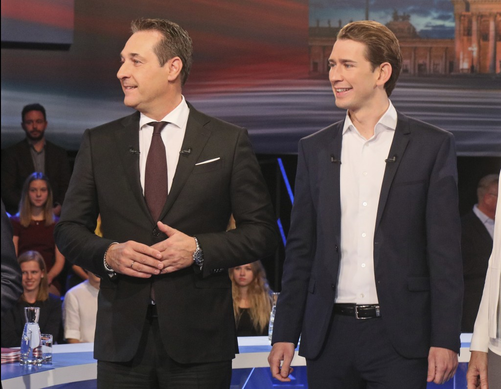 Hans-Christian Strache, leader of the strongly eurosceptic Austrian Freedom Party, left, and Foreign Minister Sebastian Kurz, head of Austrian People'...