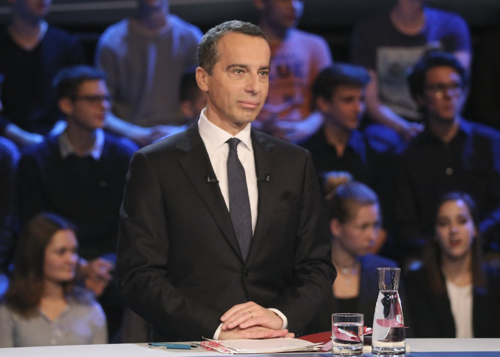 Austrian Chancellor Christian Kern waits for the beginning of a TV debate in Vienna, Austria, Thursday, Oct. 12, 2017. Austria will hold national elec...