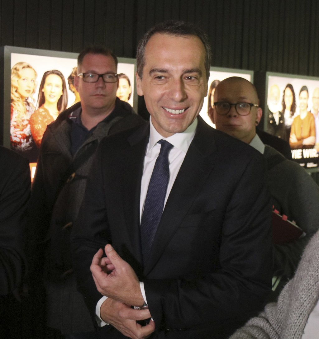Austrian Chancellor Christian Kern arrives prior to a TV debate in Vienna, Austria, Thursday, Oct. 12, 2017. Austria will hold national elections on S...