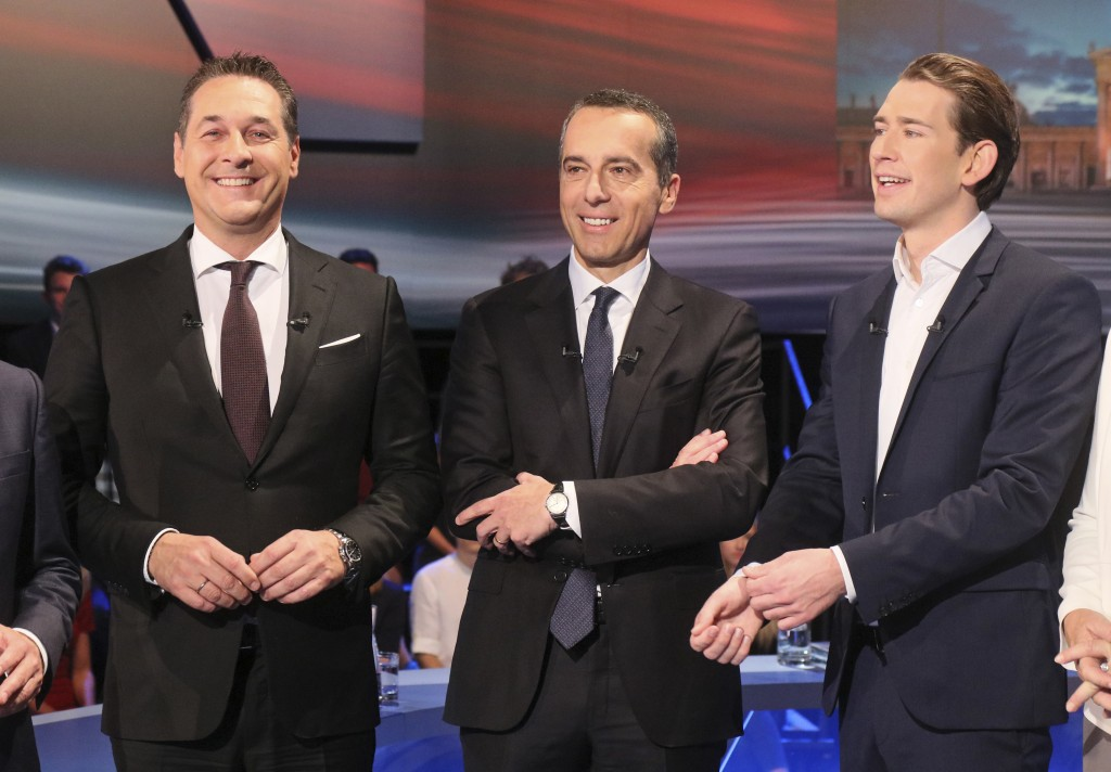 Hans-Christian Strache, leader of the strongly eurosceptic Austrian Freedom Party, Austrian Chancellor Christian Kern and Foreign Minister Sebastian K...