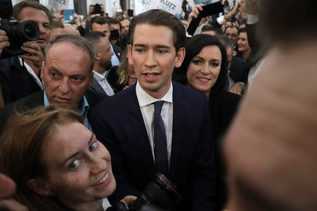 Foreign Minister Sebastian Kurz, head of Austrian People's Party, arrives to the election party in Vienna, Austria, Sunday, Oct. 15, 2017, after the c...