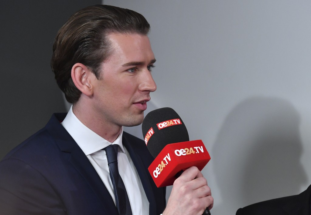 Foreign Minister Sebastian Kurz, head of Austrian People's Party, speaks during an interview in Vienna, Austria, Sunday, Oct. 15, 2017, after the clos...