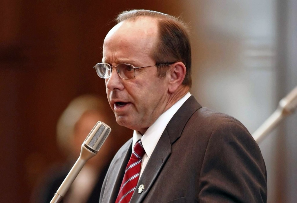 FILE- In this Feb. 14, 2012, file photo, Sen. Jeff Kruse, R-Roseburg, speaks at the Capitol in Salem, Ore. Democratic Sen. Sara Gesler, who accused Kr...
