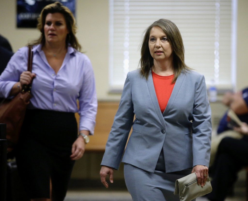FILE - In this May 9, 2017, file photo, Tulsa Police officer Betty Jo Shelby arrives at the Tulsa County Courthouse for her first-degree manslaughter ...