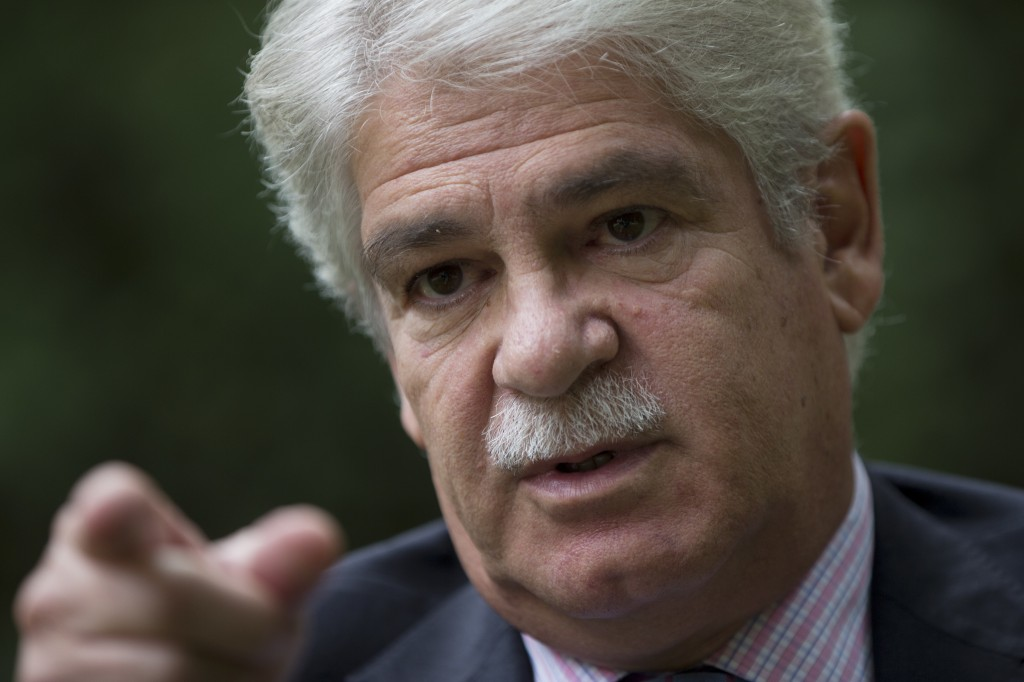 FILE- In this Saturday, Sept. 30, 2017 file photo, Spain's Foreign Minister Alfonso Dastis talks during an interview with The Associated Press about t...