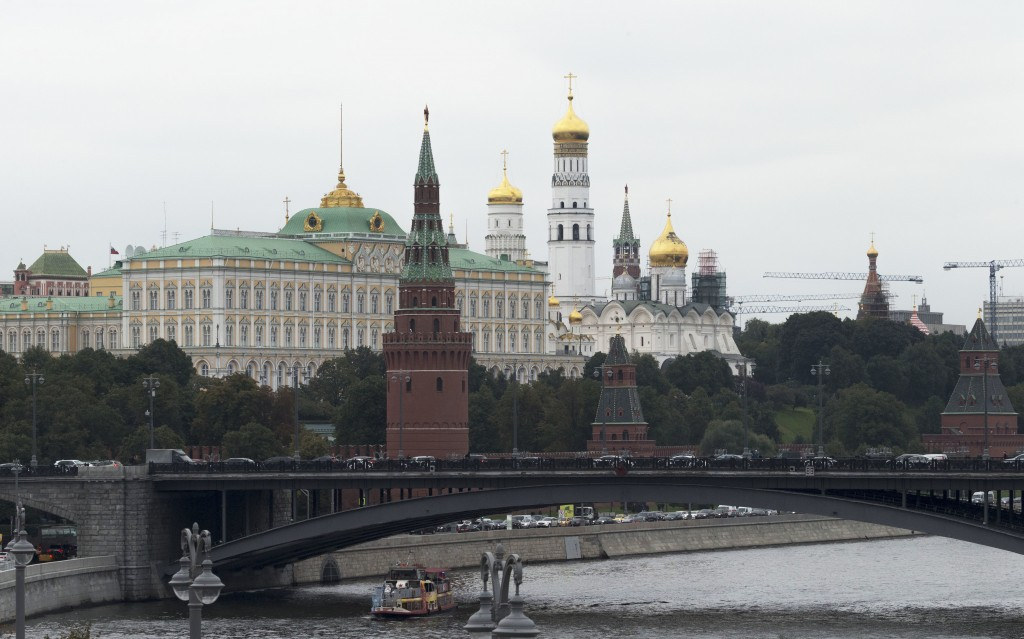 This Friday, Sept. 29, 2017 photo shows the Kremlin in Moscow. The hackers who intervened in America's 2016 presidential contest cast their net far wi...