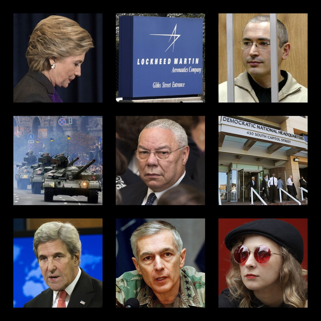 This combination of photos shows, top row from left, Hillary Clinton, the logo of the defense contractor Lockheed Martin, and former Russian oil tycoo...