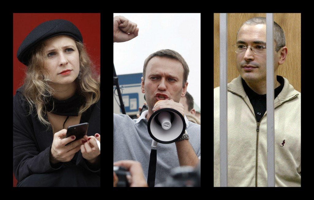 This combination of photos shows from left, punk band Pussy Riot member Maria Alekhina, anti-corruption campaigner Alexei Navalny and oil tycoon-turne...