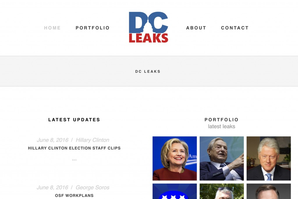 """This image shows part of an archive capture from the Internet Archive's """"Wayback Machine"""" of the website DCLeaks.com on June 13, 2016. The Associated ..."""