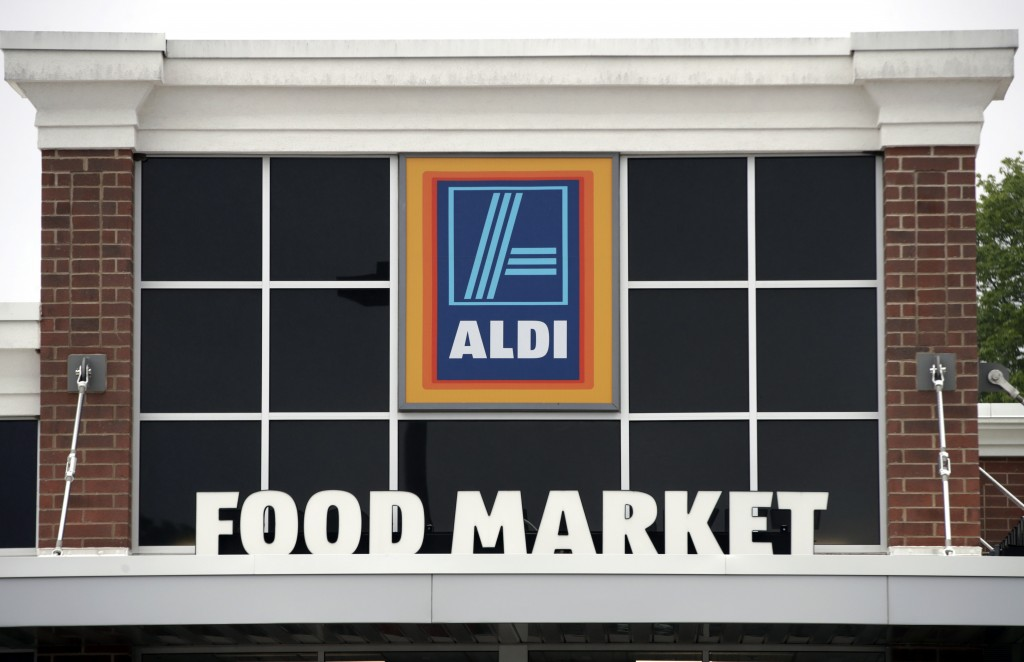 FILE - This June 5, 2017, file photo, shows an Aldi's Food Market in Salem, N.H. Aldi's told The Associated Press on Oct. 31, 2017, the company has re...