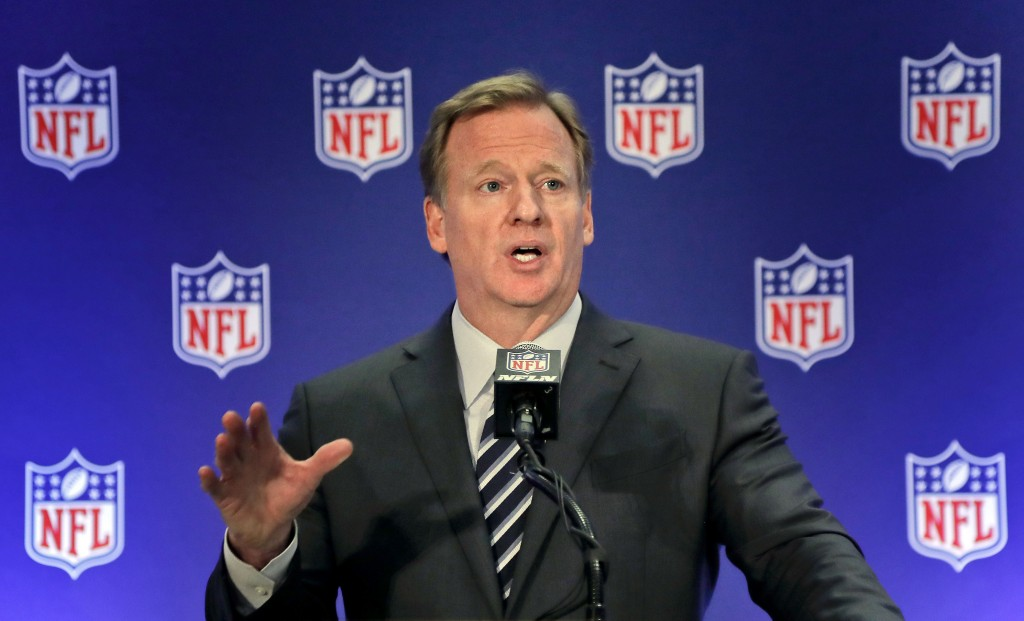 FILE - In this Oct. 18, 2017, file photo, NFL commissioner Roger Goodell speaks during a news conference in New York. The AP reported Nov. 3, 2017,  t...