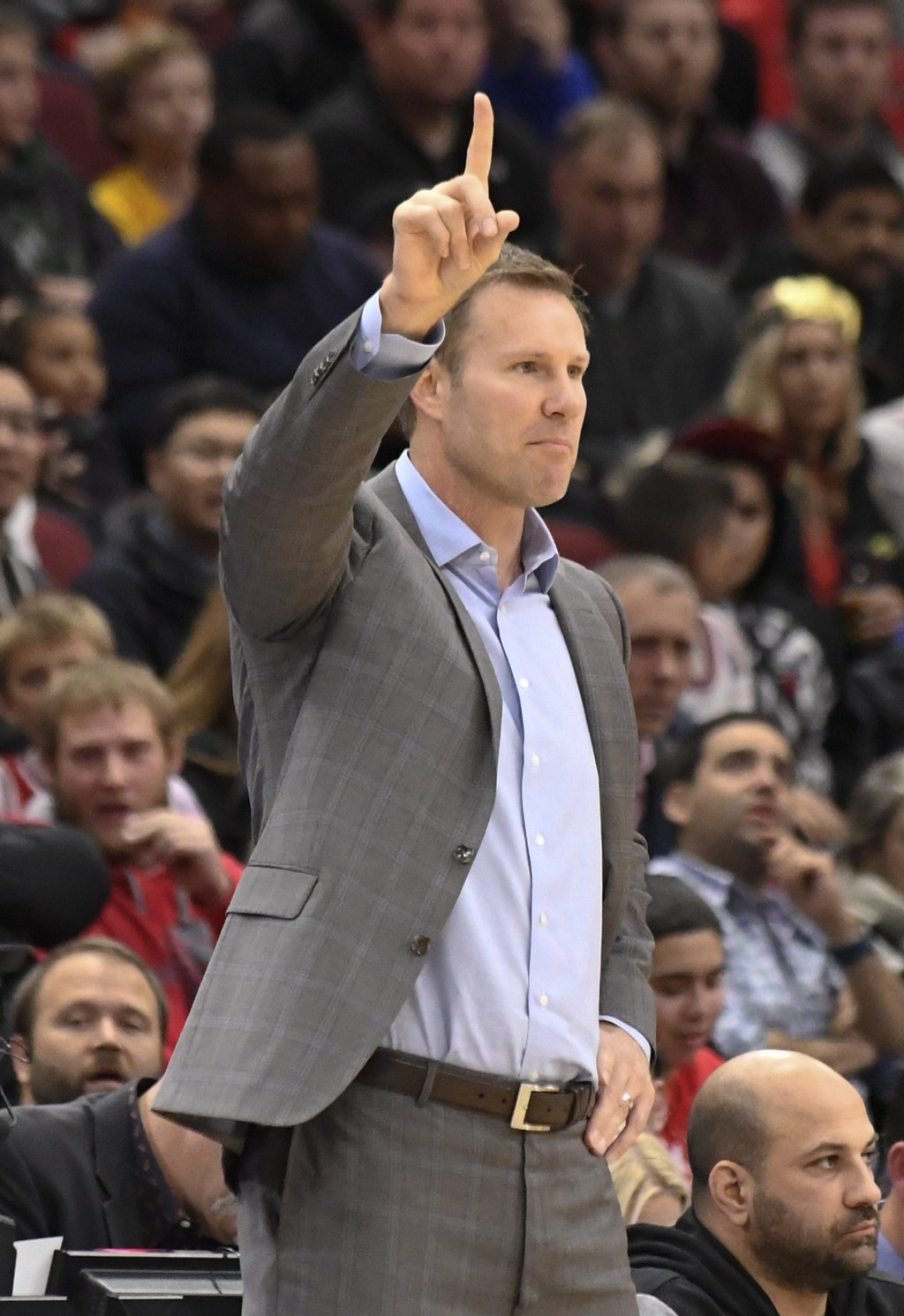 Chicago Bulls head coach Fred Hoiberg gives instructions to his team during the first half of an NBA basketball game against the New Orleans Pelicans,...