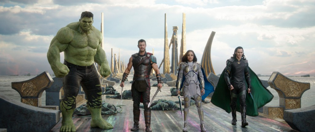 This image released by Marvel Studios shows the Hulk, from left, Chris Hemsworth as Thor, Tessa Thompson as Valkyrie and Tom Hiddleston as Loki in a s...