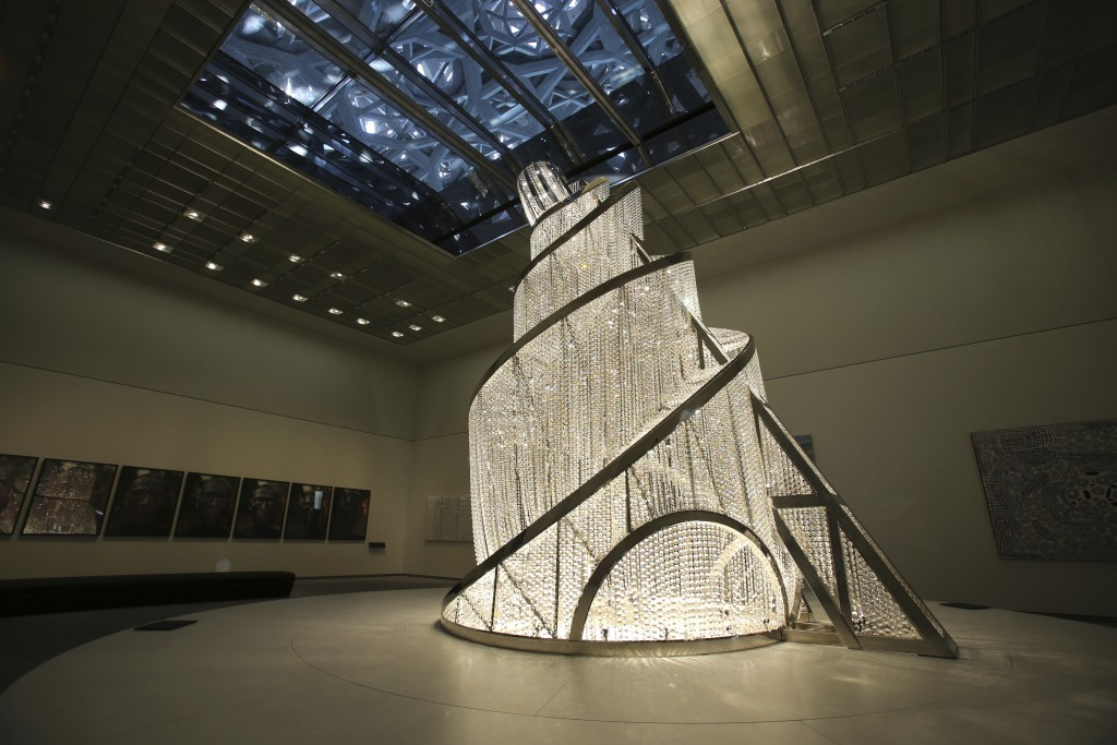 """In this Monday, Nov. 6, 2017, photo, """"Fountain of Light"""" by Ai Weiwei is seen at the Louvre Abu Dhabi, United Arab Emirates. The Louvre Abu Dhabi is p..."""