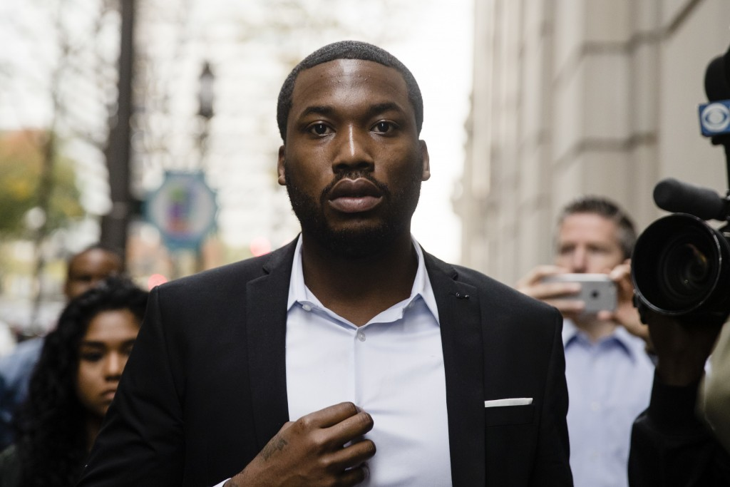 Rapper Meek Mill arrives at the criminal justice center in Philadelphia, Monday, Nov. 6, 2017. A Philadelphia judge has sentenced rapper Mill to two t