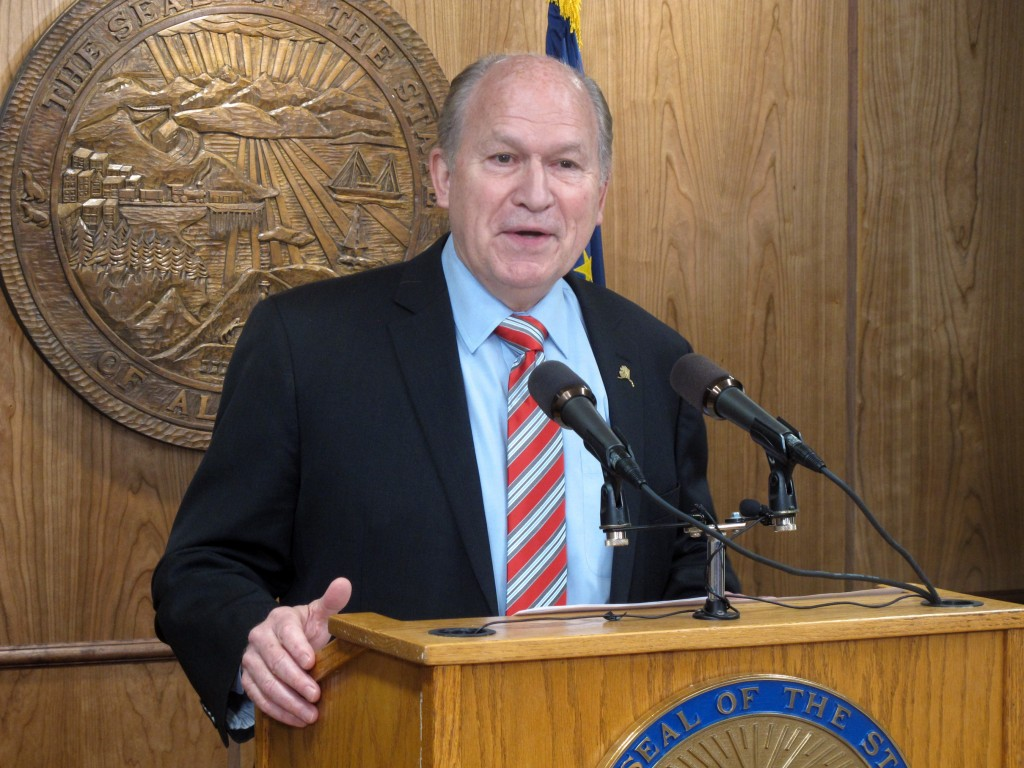 FILE - In this Tuesday, April 18, 2017, file photo, Alaska Gov. Bill Walker addresses reporters during a news conference in Juneau, Alaska. The state