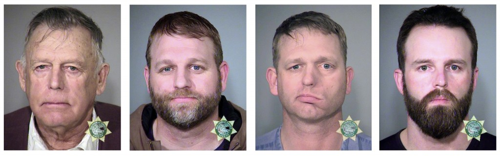 FILE - This undated, combination file photo provided by the Multnomah County, Ore., Sheriff's Office shows, from left; Nevada rancher Cliven Bundy and