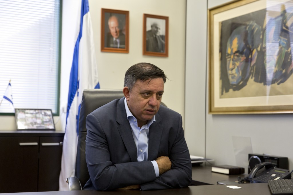 Israeli Labor Party leader Avi Gabbay, speaks during an interview with The Associated Press, at the Labor Party headquarters in Tel Aviv, Israel, Tues