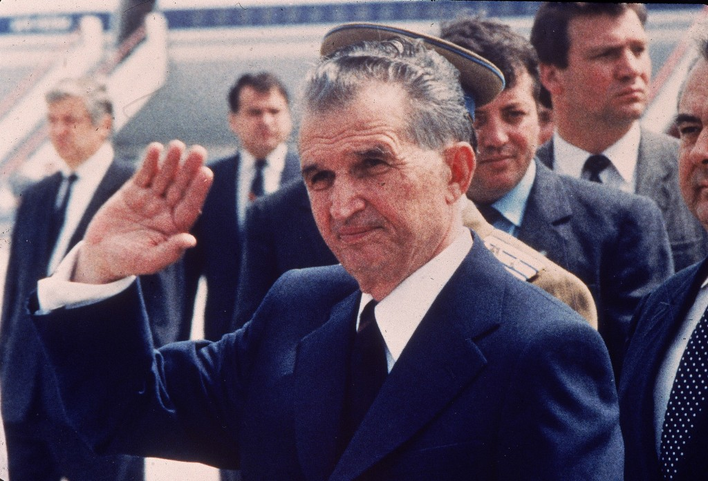 FILE - This May 1987 file photo shows Romania's leader Nicolae Ceausescu as he receives his Russian counterpart at Bucharest airport. Ceausescu, who h...