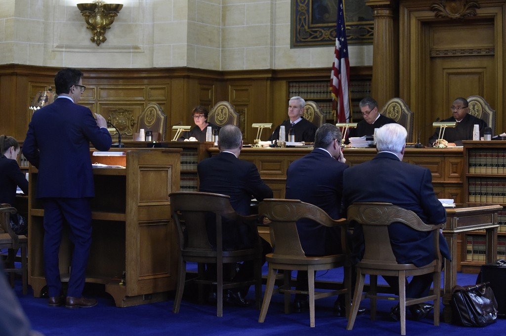 The Connecticut Supreme Court listens to attorney Josh Koskoff on arguments on whether gun maker Remington Arms should be held liable for the 2012 New