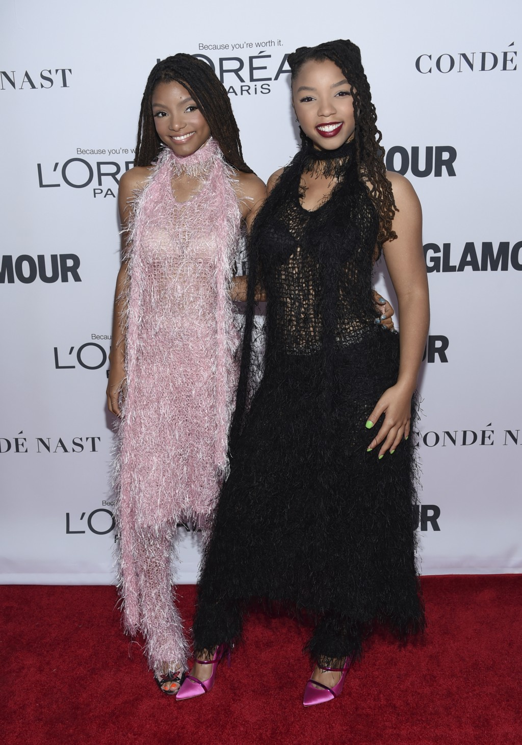FILE - In this Nov. 13, 2017 file photo, Halle Bailey, left, and Chloe Bailey of Chloe x Halle attend the 2017 Glamour Women of the Year Awards in New