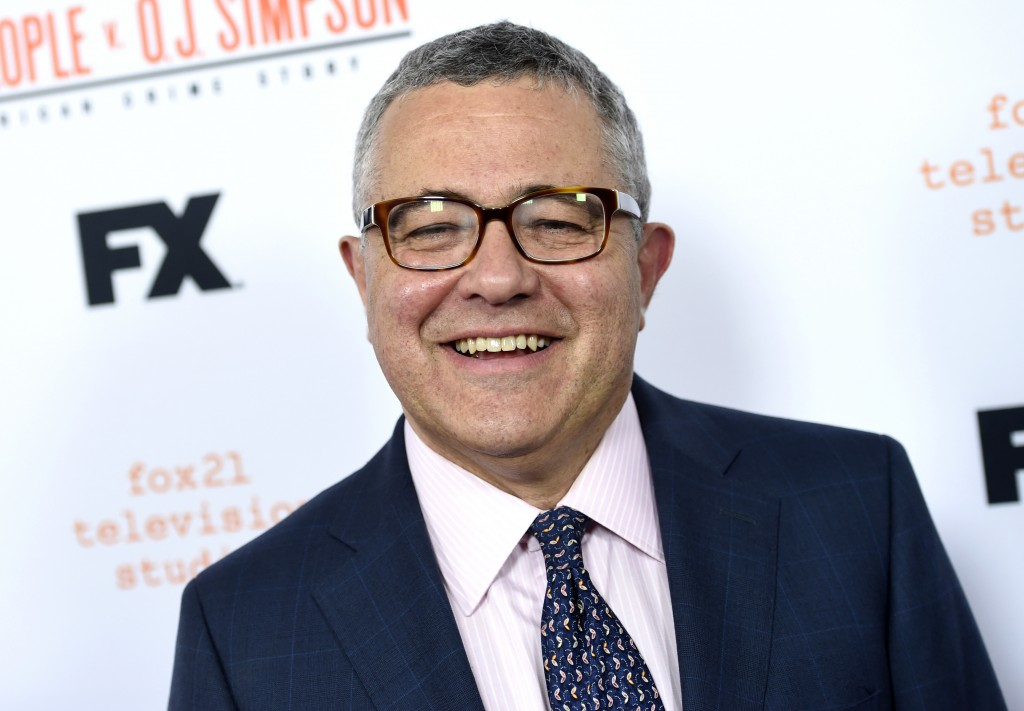 """FILE - In this April 4, 2016 file photo, author and CNN commentator Jeffrey Toobin arrives at the """"American Crime Story: The People v. O.J. Simpson"""" F"""