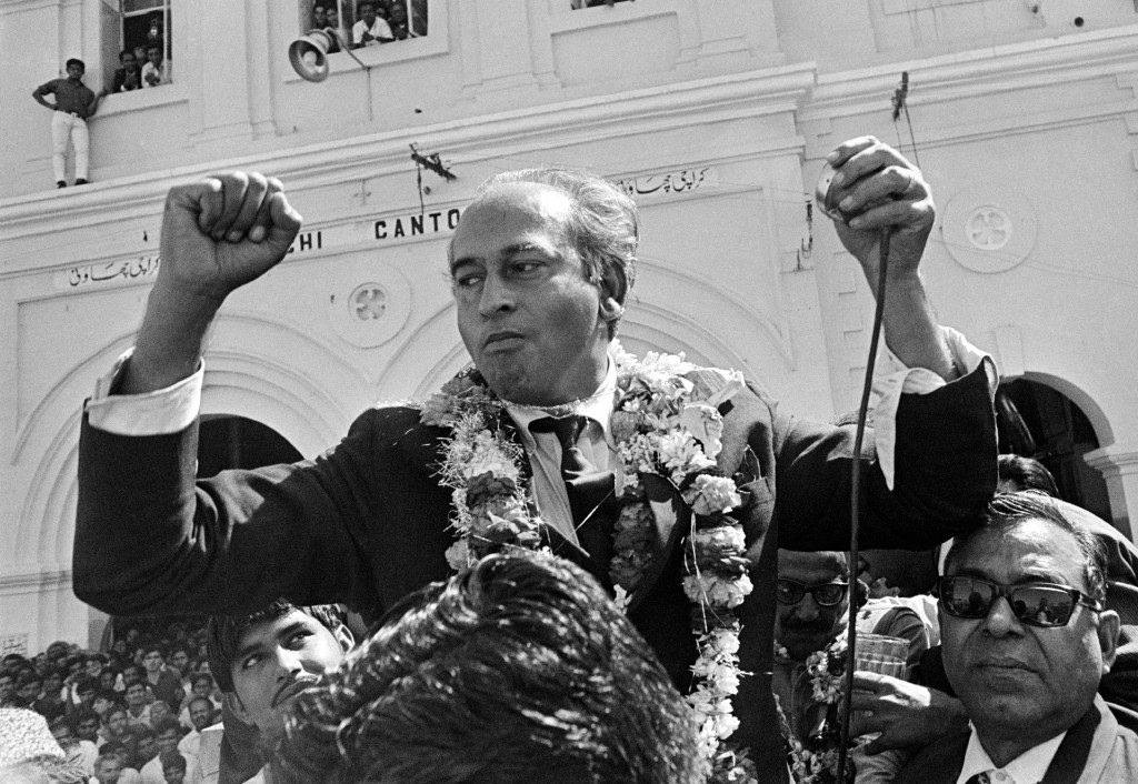 FILE - in this Feb. 1969 file photo, Chairman of the People's Party and Former Foreign Minister Zulfikar Ali Bhutto after he arrived in Karachi, Pakis...